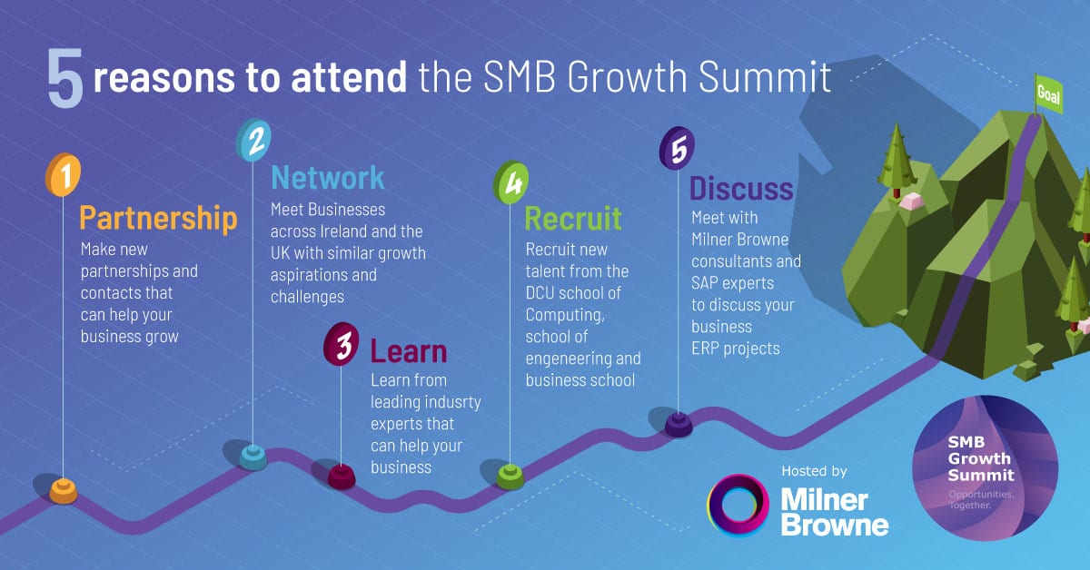 Info-graphic describing 5 reasons to attend the SMB Growth Summit